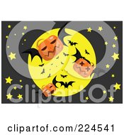 Royalty Free RF Clipart Illustration Of Jackolantern Bats Flying In Front Of A Full Moon by mayawizard101