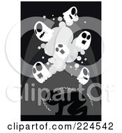 Royalty Free RF Clipart Illustration Of A Scared Man Shaking Under Skull Ghosts by mayawizard101