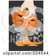 Royalty Free RF Clipart Illustration Of A Hand Carrying A Gooey Pumpkin by mayawizard101