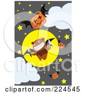 Royalty Free RF Clipart Illustration Of A Teddy Bear Bat With Knives And Jackolanterns In A Night Sky by mayawizard101