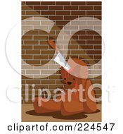 Royalty Free RF Clipart Illustration Of A Bloody Teddy Bear Stabbed With Knives