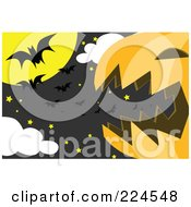 Royalty Free RF Clipart Illustration Of A Giant Jackolantern With Stars And Vampire Bats In The Moonlight by mayawizard101