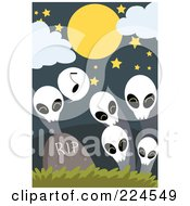 Royalty Free RF Clipart Illustration Of A Skull Ghost Singing To Others By A Tombstone by mayawizard101