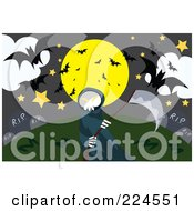 Royalty Free RF Clipart Illustration Of A Grim Reaper Holding A Scythe In A Cemetery Full Of Bats