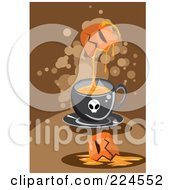 Royalty Free RF Clipart Illustration Of A Pumpkin Dripping Goo Into A Skull Mug by mayawizard101