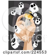 Royalty Free RF Clipart Illustration Of A Hand Holding A Pumpkin Ghost Surrounded By Little Ghosts by mayawizard101