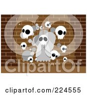 Royalty Free RF Clipart Illustration Of A Hanging Skull Ghost And Other Skulls Against A Brick Wall by mayawizard101