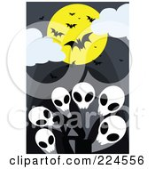 Royalty Free RF Clipart Illustration Of Vampire Bats And A Full Moon Over Skull Ghosts by mayawizard101