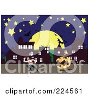 Royalty Free RF Clipart Illustration Of A Jackolantern Chasing A Man Down A Street