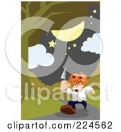 Man With A Pumpkin Head Running Down A Path With A Knife