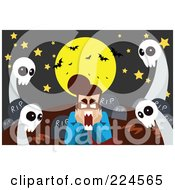 Royalty Free RF Clipart Illustration Of A Full Moon And Bats Over A Scared Man With Ghosts In A Cemetery by mayawizard101