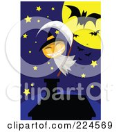 Royalty Free RF Clipart Illustration Of A Jackolantern Ghost With A Scythe Above A House by mayawizard101