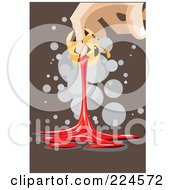 Royalty Free RF Clipart Illustration Of A Hand Squeezing Blodd From A Jackolantern by mayawizard101