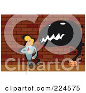 Royalty Free RF Clipart Illustration Of A Ghost Emerging From A Pumpkin Behind A Businessman by mayawizard101