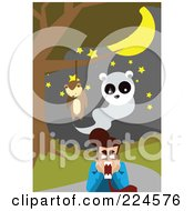Royalty Free RF Clipart Illustration Of A Hanging Teddy Bear And Ghost Above A Screaming Man by mayawizard101