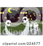 Royalty Free RF Clipart Illustration Of Skull Ghosts In A Cemetery by mayawizard101