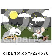 Royalty Free RF Clipart Illustration Of A Ghost Emerging From A Pumpkin And Chasing A Man In A Cemetery by mayawizard101
