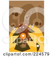 Royalty Free RF Clipart Illustration Of A Teddy Bear With Knives Breaking Out Of A Pumpkins Mouth Under Skulls by mayawizard101