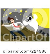 Royalty Free RF Clipart Illustration Of A Spooky Ghost Chasing A Man In A Cemetery by mayawizard101