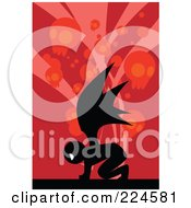Royalty Free RF Clipart Illustration Of A Silhouetted Demon Over Red With Skulls by mayawizard101