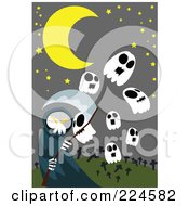 Royalty Free RF Clipart Illustration Of A Grim Reaper With Skull Ghosts In A Cemetery by mayawizard101