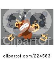 Royalty Free RF Clipart Illustration Of Jackolanterns Attacking A Teddy Bear by mayawizard101