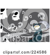 Royalty Free RF Clipart Illustration Of A Grim Reaper Over Gray With Skulls by mayawizard101