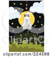 Royalty Free RF Clipart Illustration Of A Skull Ghost Hanging From A Noose Over A Cemetery
