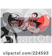 Royalty Free RF Clipart Illustration Of A Silhouetted Woman Walking And Breaking A Red Heart by mayawizard101