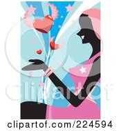 Royalty Free RF Clipart Illustration Of A Silhouetted Woman Sitting And Watching Winged Hearts