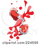 Royalty Free RF Clipart Illustration Of A Broken Heart With Hand Cuffs And Blood by mayawizard101
