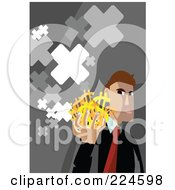 Businessman Holding Dollar Symbols