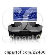 Blue Water Ripple Art Print Hanging On A Wall Above A Black Leather Couch On A Reflective White Surface