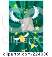 Winged Safe Over Green Rays And Fling Coins Stars And Dollar Symbols