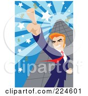 Businessman Pointing Up And Standing By A Skyscraper With Dollar Symbols