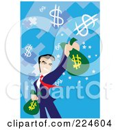Businessman Holding Out A Money Bag
