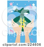 Womans Hands Holding A Money Bag Over Blue With Dollar Symbols And Stars