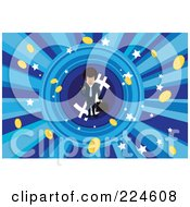 Businessman Standing On A Dollar Symbol Around Coins And Stars
