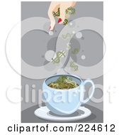 Woman Dropping Dollar Symbols Into A Cup