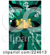Silhouetted Hands Reaching For Dollar Symbols Money Bags And Coins On Green