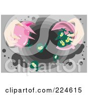 Royalty Free RF Clipart Illustration Of A Womans Hands Breaking A Piggy Bank And Dumping Money Bags Down A Drain by mayawizard101