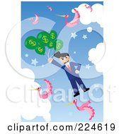 Businessman Floating In The Sky With Pink Birds And Dollar Balloons