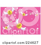 Royalty Free RF Clipart Illustration Of Flying Golden Dollar Eggs On Pink