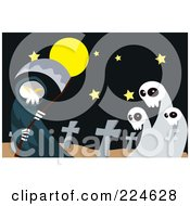 Royalty Free RF Clipart Illustration Of A Grim Reaper Holding A Scythe By Ghosts In A Cemetery