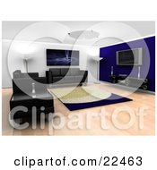 Clipart Illustration Of A Modern Living Room Interior With Ceiling And Floor Lamps A Fractal Art Piece Hanging On The Wall A Rug Entertainment Center Black Leather Couches And A Table by KJ Pargeter