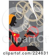 Royalty Free RF Clipart Illustration Of A Silhouetted Woman Sitting And Smoking Around Prohibited Symbols by mayawizard101