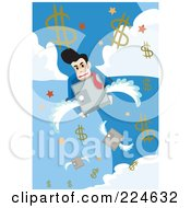 Businessman On A Flying Safe In The Sky With Dollar Symbols
