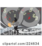 Businessman Playing A Sax Under Dollar Symbols