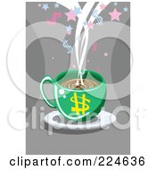 Green Dollar Coffee Cup On A Saucer