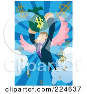Businessman With Wings Flying And Holding Onto A Money Bag